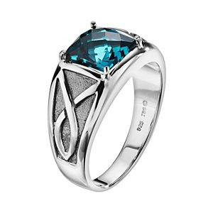 Lab-Created Blue Topaz Sterling Silver Ring - Men