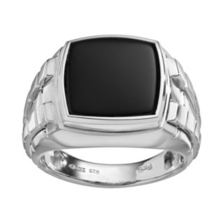Onyx Sterling Silver Textured Ring - Men