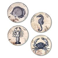 Certified International Coastal Postcards 4-pc. Canape Plate Set