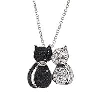 Crystal Silver-Plated Cats Pendant Necklace