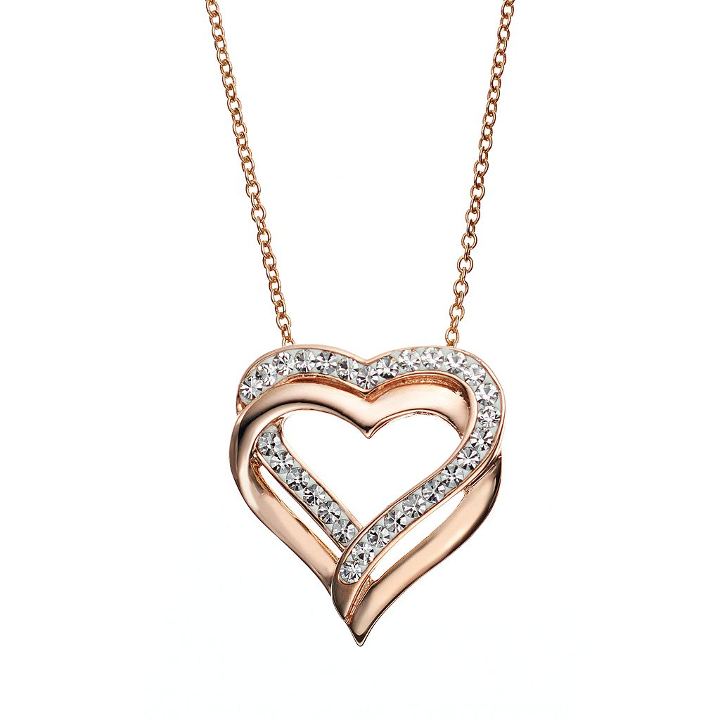 Crystal 14k Rose Gold Over Silver-Plated Heart Pendant Necklace