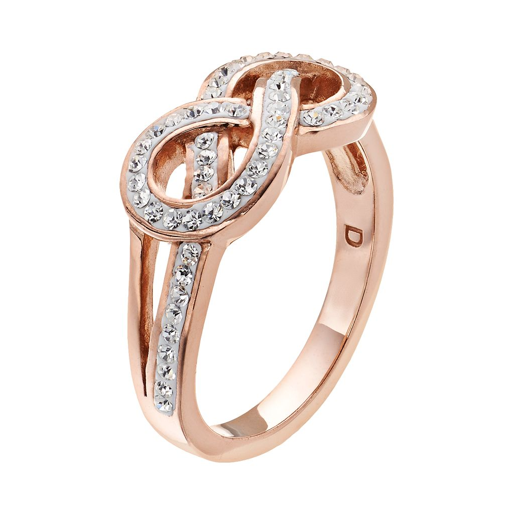 Crystal 14k Rose Gold Over Silver-Plated Infinity Ring