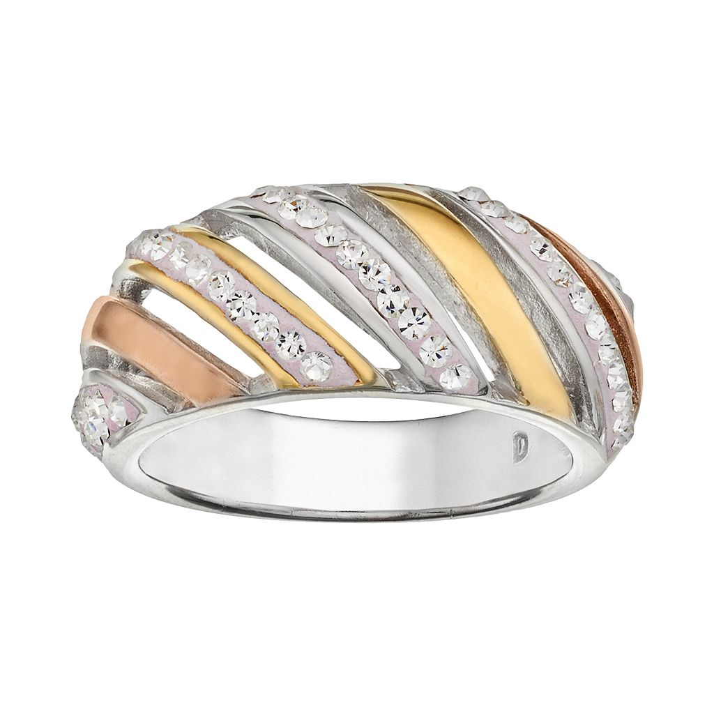 Crystal 14k Gold Over Silver-Plated Tri-Tone Ring