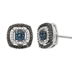1/3 Carat T.W. Diamond Sterling Silver Halo Stud Earrings