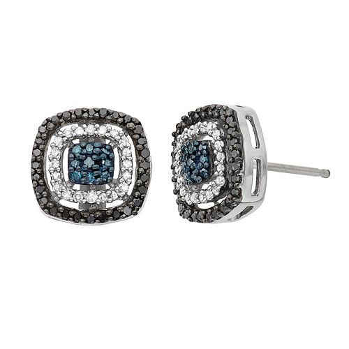 1/3 Carat T.W. Diamond Sterling Silver Halo Stud Earrings