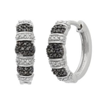 1/4 Carat T.W. Black and White Diamond Sterling Silver Striped Hoop Earrings
