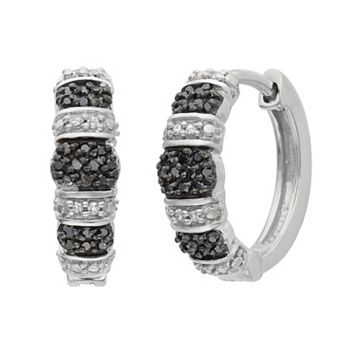 1/4 Carat T.W. Black & White Diamond Sterling Silver Striped Hoop Earrings