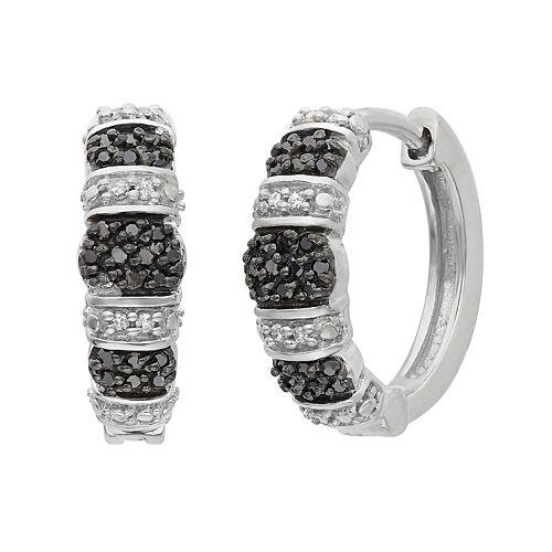 1/4 Carat T.W. Black & White Diamond Sterling Silver Striped Hoop Earrings