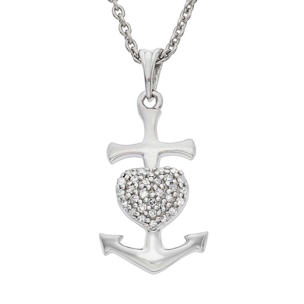 1/10 Carat T.W. Diamond Sterling Silver Heart Anchor Pendant Necklace