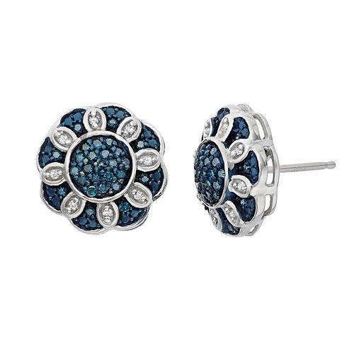 1/3 Carat T.W. Blue & White Diamond Sterling Silver Flower Stud Earrings