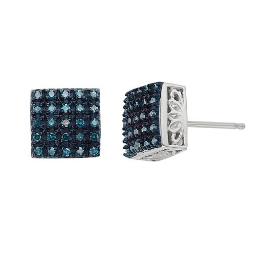 1/4 Carat T.W. Blue Diamond Sterling Silver Square Stud Earrings