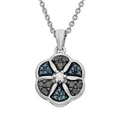 1/4 Carat T.W. Diamond Sterling Silver Flower Pendant Necklace