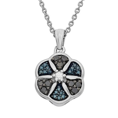 1/4 Carat T.W. Diamond Sterling Silver Flower Pendant Necklace