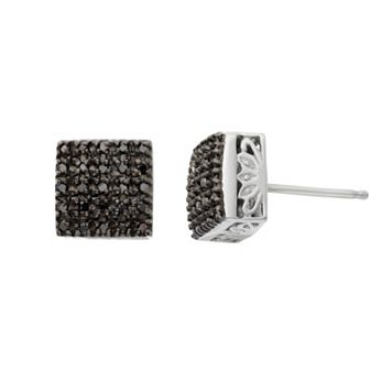 1/4 Carat T.W. Black Diamond Sterling Silver Square Stud Earrings