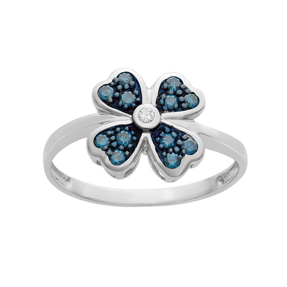 1/4 Carat T.W. Blue & White Diamond Sterling Silver Clover Ring