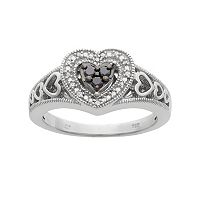 1/6 Carat T.W. Black & White Diamond Sterling Silver Heart Ring