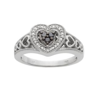 1/6 Carat T.W. Black and White Diamond Sterling Silver Heart Ring