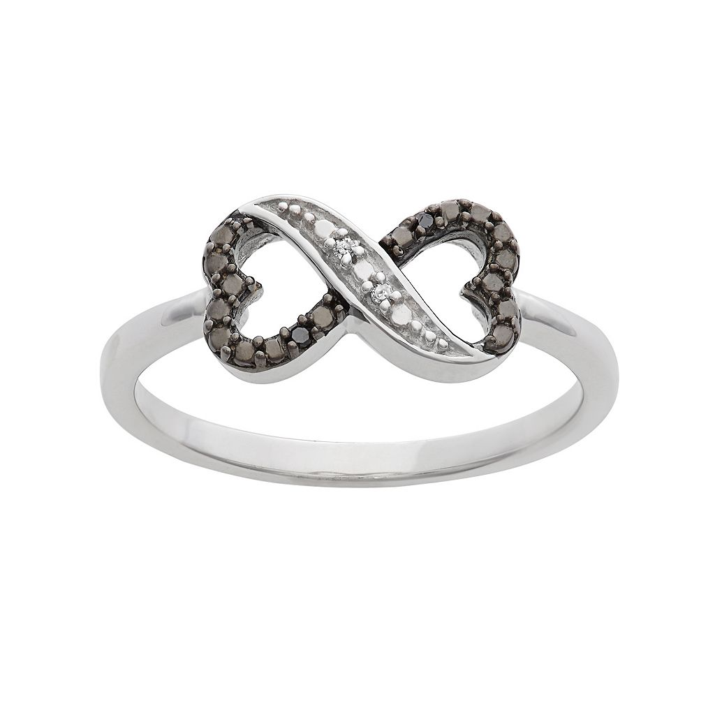 Black & White Diamond Accent Sterling Silver Heart Infinity Ring
