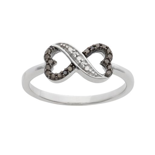 Black and White Diamond Accent Sterling Silver Heart Infinity Ring