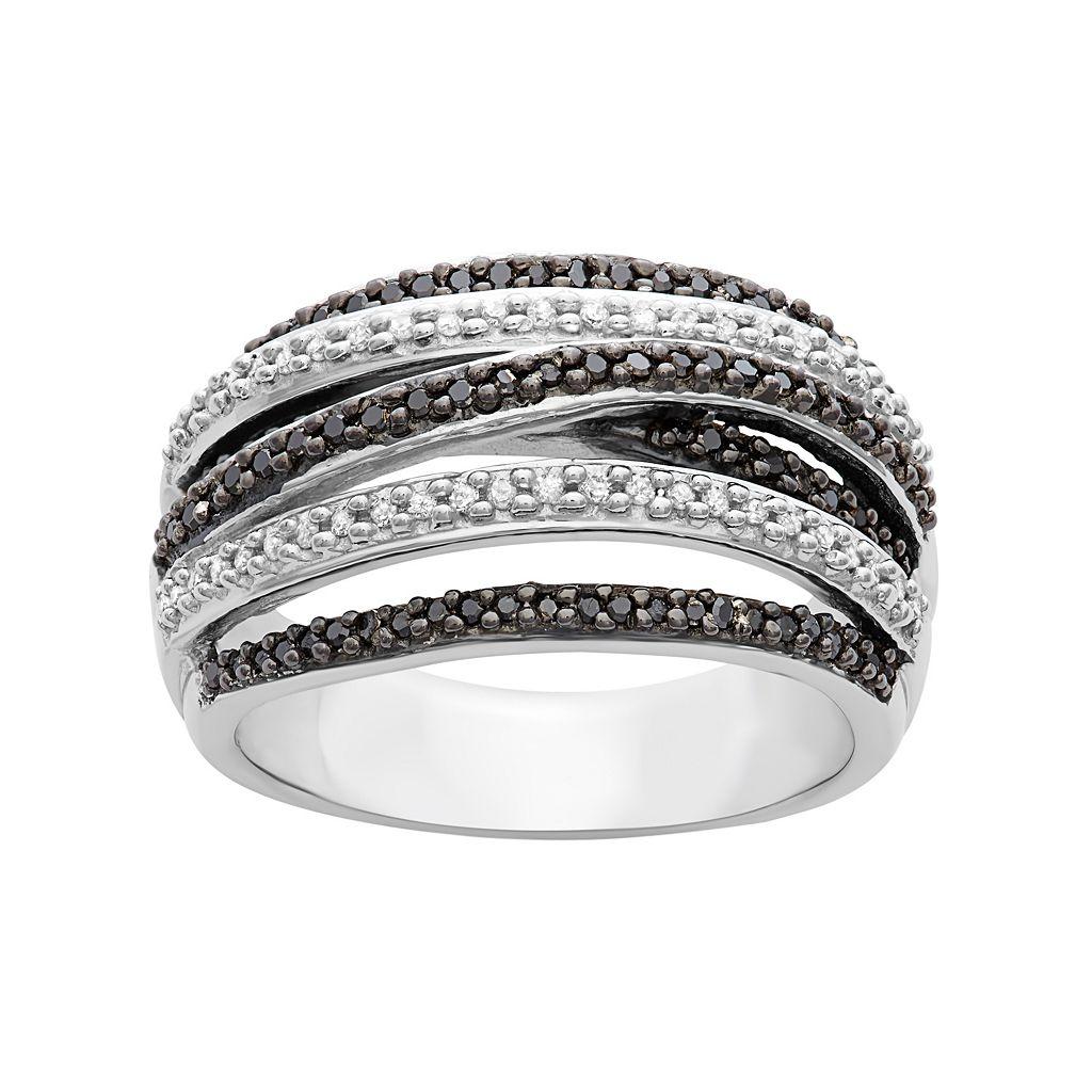 1/2 Carat T.W. Black & White Diamond Sterling Silver Multirow Ring