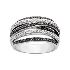1/2 Carat T.W. Black & White Diamond Sterling Silver Multirow Ring