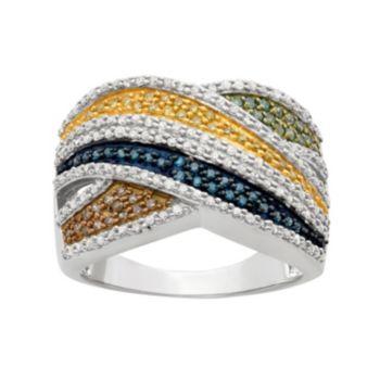 1 Carat T.W. Diamond Sterling Silver Crisscross Ring