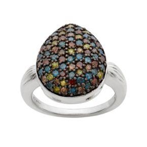 1 Carat T.W. Diamond Sterling Silver Teardrop Ring