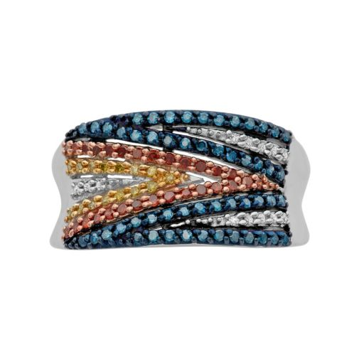 1/2 Carat T.W. Diamond Sterling Silver Zigzag Concave Ring