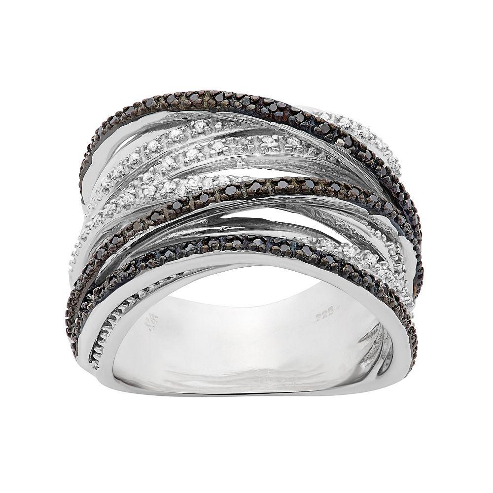 1/2 Carat T.W. Black & White Diamond Sterling Silver Crisscross Ring