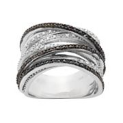 1/2 Carat T.W. Black & White Diamond Sterling Silver Crisscross Ring