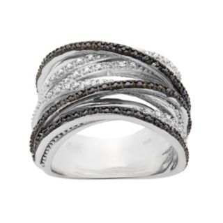 1/2 Carat T.W. Black and White Diamond Sterling Silver Crisscross Ring