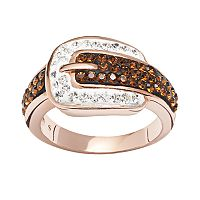 Crystal 14k Rose Gold Over Silver-Plated Buckle Ring