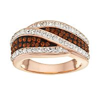 Crystal 14k Rose Gold Over Silver-Plated Crisscross Ring