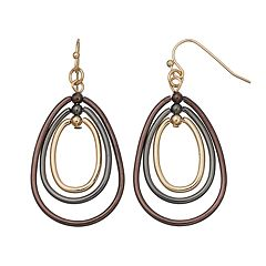 Graduated Pear Hoop Drop Earrings