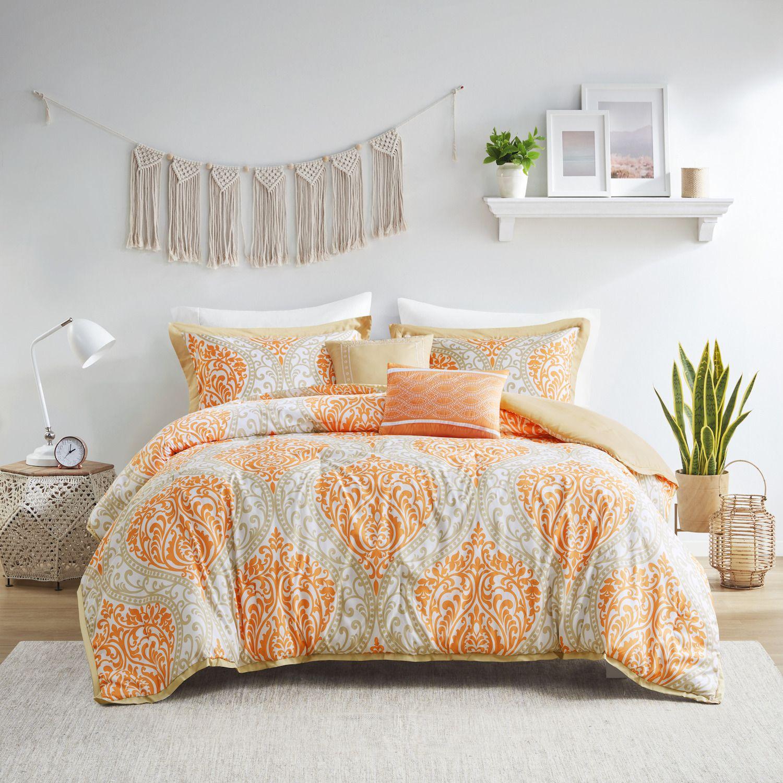 Intelligent Design Lilly Comforter Set. Orange Aqua Black