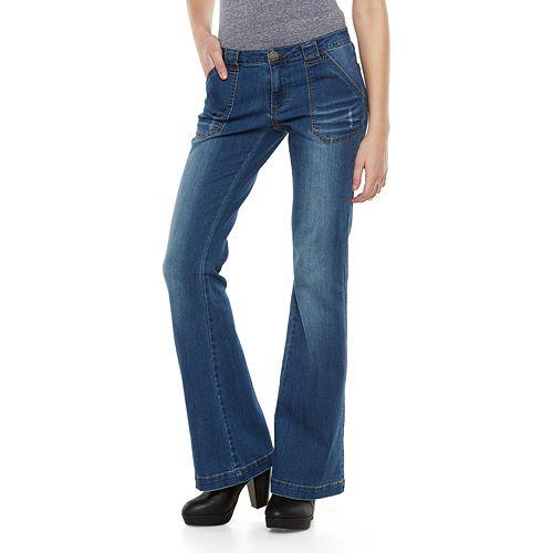NEW Arizona Juniors Super Flare Jeans Low Rise Wider Leg size 1