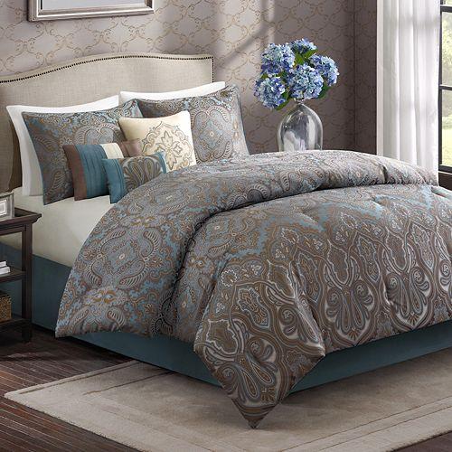 Wyndham 7 Pc King Comforter Set Blue Brown Ebay