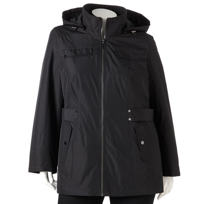 d.e.t.a.i.l.s Hooded Solid Trench Jacket - Women's Plus Size