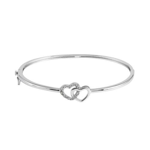 1/10 Carat T.W. Diamond Sterling Silver Double Heart Bangle Bracelet