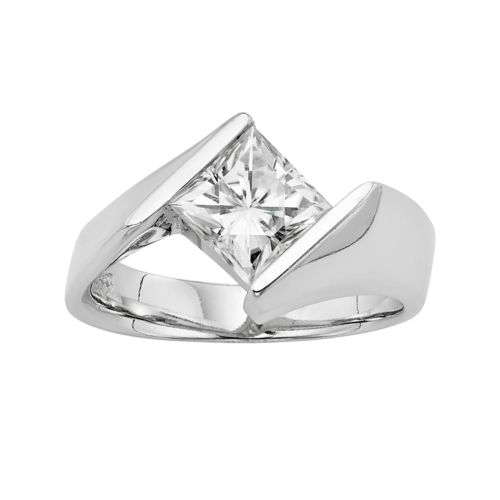 Brilliant Lab Created Moissanite Solitaire Bypass Engagement Ring