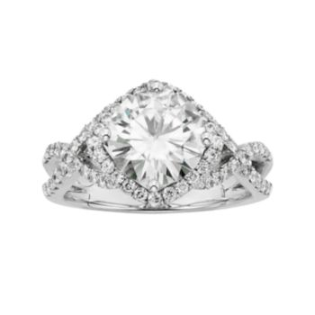 Forever Brilliant Lab-Created Moissanite Crisscross Halo Engagement Ring in 14k White Gold (3 1/5 Carat T.W.)