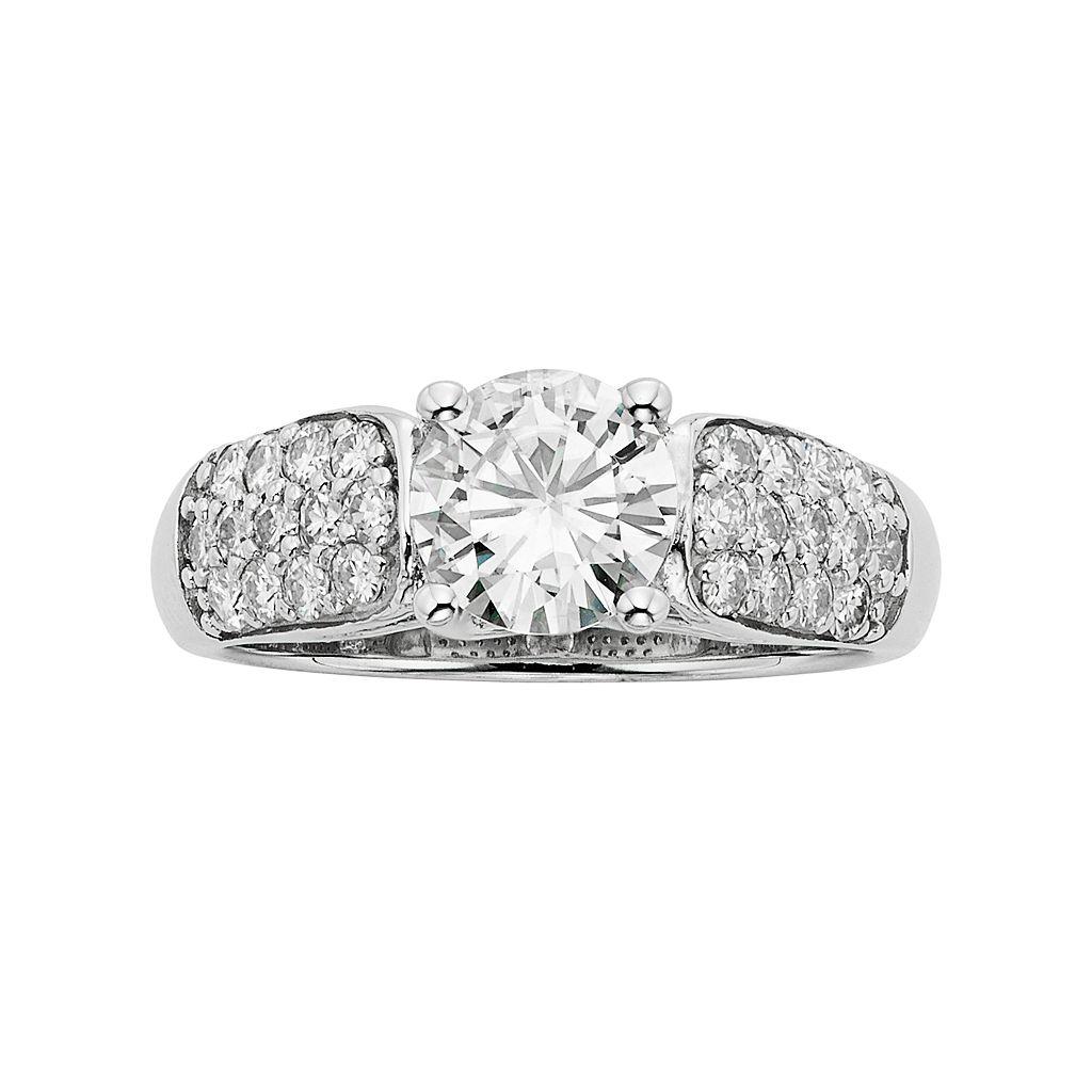 Forever Brilliant Lab-Created Moissanite Trellis Engagement Ring in 14k White Gold (1 3/4 Carat T.W.)
