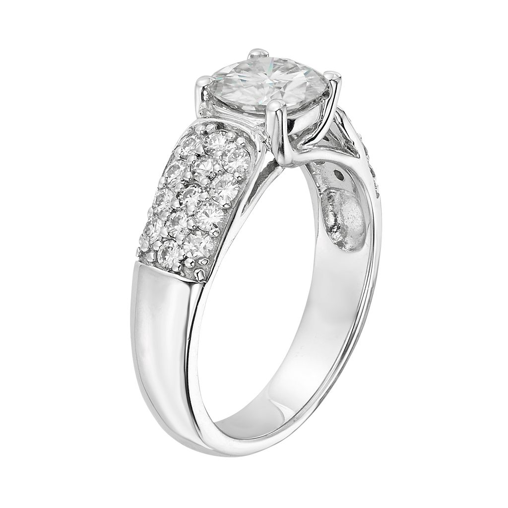 Forever Brilliant Lab-Created Moissanite Trellis Engagement Ring in 14k White Gold (1 3/4 Carat T.W.)