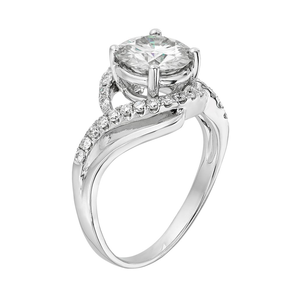 Forever Brilliant Lab-Created Moissanite Swirl Engagement Ring in 14k White Gold (2 1/5 Carat T.W.)