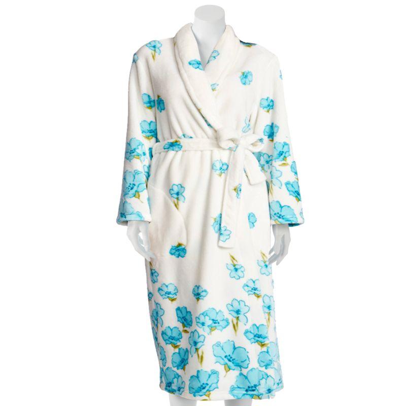 Jasmine Rose Printed Plush Robe - Women's Plus Size