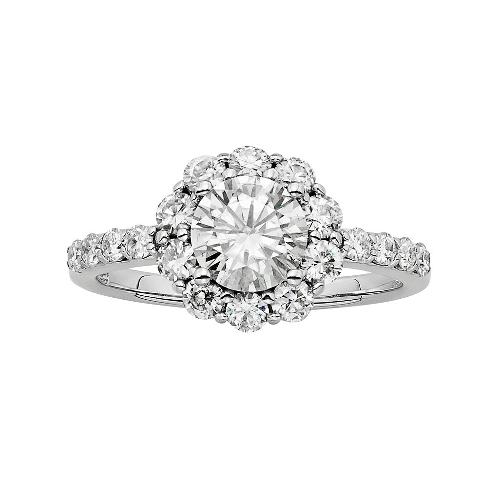 Forever Brilliant Lab-Created Moissanite Halo Engagement Ring in 14k White Gold (1 3/4 Carat T.W.)