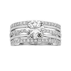 Forever Brilliant Lab-Created Moissanite Multirow Engagement Ring in 14k White Gold (1 3/4 Carat T.W.)
