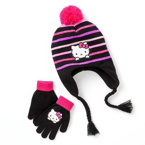 bbecdd06 Hello Kitty® Sparkle Earflap Hat & Gloves Set - Girls