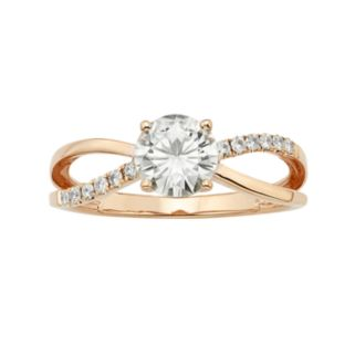 Forever Brilliant 1 1/8 Carat T.W. Lab-Created Moissanite 14k Rose Gold Crisscross Ring