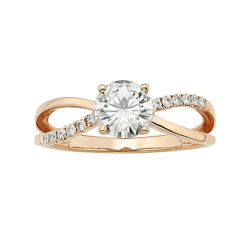 Forever Brilliant 1 1/8 Carat T.W. Lab-Created Moissanite 14k Rose Gold Crisscross Ring
